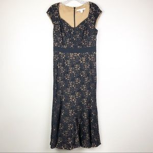 DVF Black Lace Dress with Gold Lining Sz 8